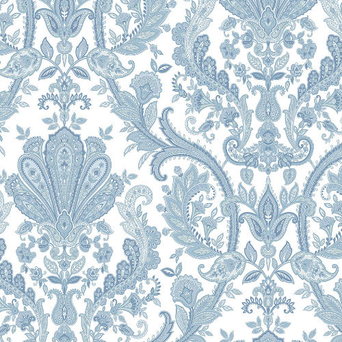 MD29431 Norwall Patton Wallcovering Manor House Paisley Damask Wallpaper Blue