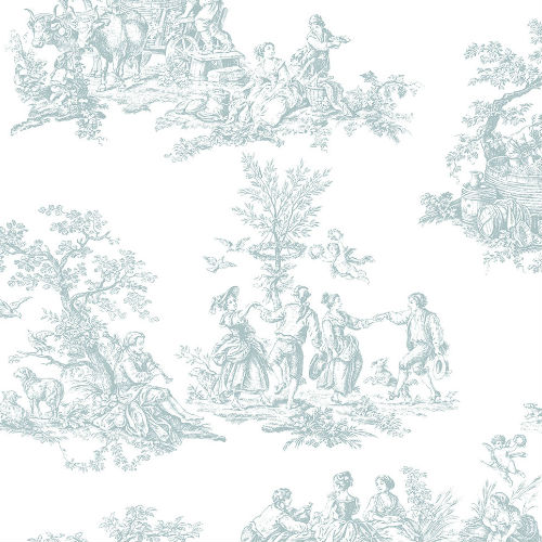 MH36500 Patton Wallcovering Norwall Manor House Cottage Living Toile Wallpaper Turquoise