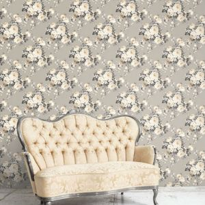 MH36505 Norwall Patton Wallcovering Manor House Vintage Bloom Wallpaper Room Setting