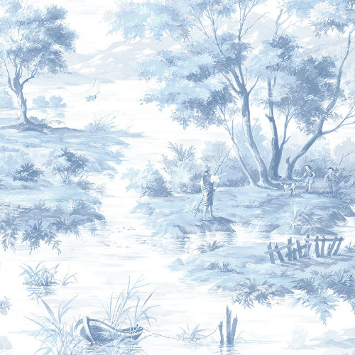 MH36512 Norwall Patton Wallcovering Manor House Lakeside Toile Wallpaper Blue