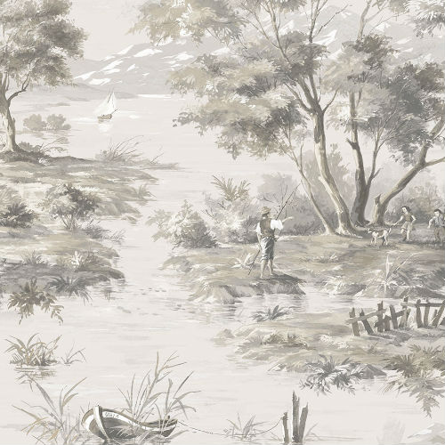 MH36516 Norwall Patton Wallcovering Manor House Lakeside Toile Wallpaper Beige