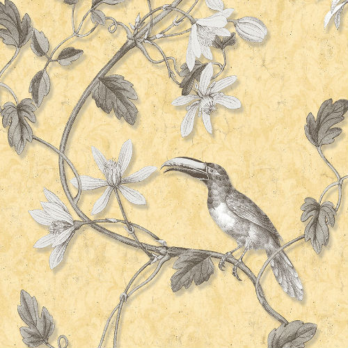 MH36531 Norwall Patton Wallcovering Manor House Tropical Toucan Wallpaper Yellow