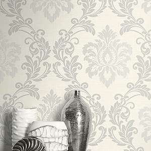 2765-BW40108 Brewster Wallcovering Kenneth James Geo Tex Adela Twill Damask Wallpaper Ivory Room Setting