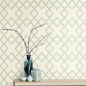 2765-BW40404 Brewster Wallcovering Kenneth James Geo Tex Vana Woven Diamond Wallpaper Seafoam Room Setting
