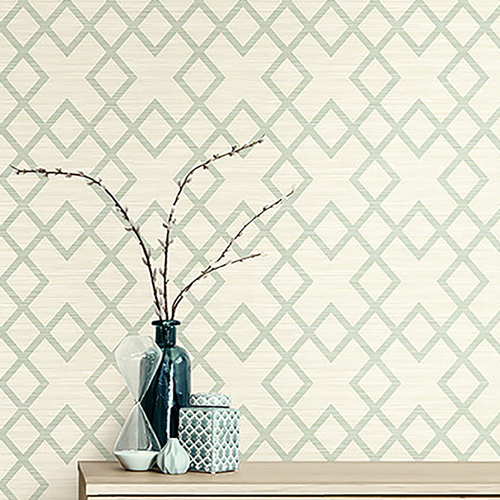 2765-BW40404 Brewster Wallcovering Kenneth James Geo Tex Vana Woven Diamond Wallpaper Seafoam Room Setting