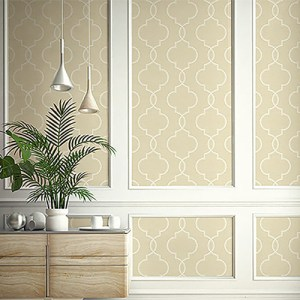 2765-BW40507 Brewster Wallcovering Kenneth James Geo Tex Malo Sisal Ogee Wallpaper Wheat Room Setting