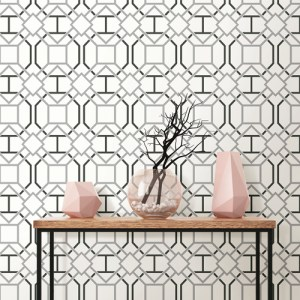 2809-87705 Brewster Wallcovering Advantage Geo Dauphin Lattice Wallpaper Off-White Room Setting