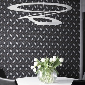 2809-IH18107 Brewster Wallcovering Advantage Geo Joanne Blox Wallpaper Charcoal Room Setting
