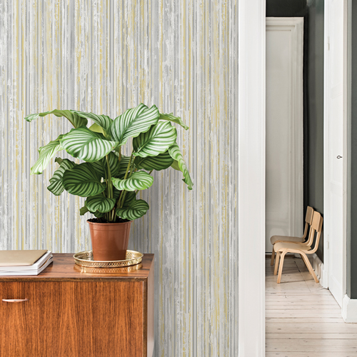 2812-BLW20401 Brewster Wallcovering Advantage Surfaces Savanna Stripe Wallpaper Sage Room Setting
