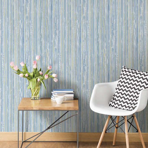 2812-BLW20404 Brewster Wallcovering Advantage Surfaces Savanna Stripe Wallpaper Blue Room Setting