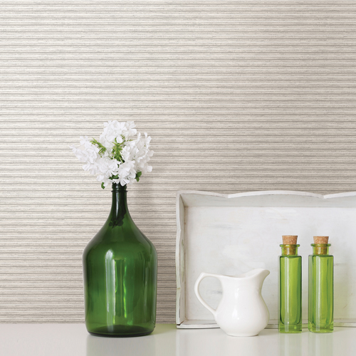 2812-IH18401B Brewster Wallcovering Advantage Surfaces Lily Stripe Wallpaper Taupe Room Setting