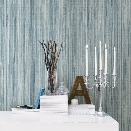 2812-SH01007 Brewster Wallcovering Advantage Surfaces Audrey Stripe Texture Wallpaper Teal Room Setting