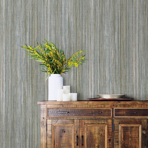 2812-SH01009 Brewster Wallcovering Advantage Surfaces Audrey Stripe Texture Wallpaper Multi-Color Room Setting