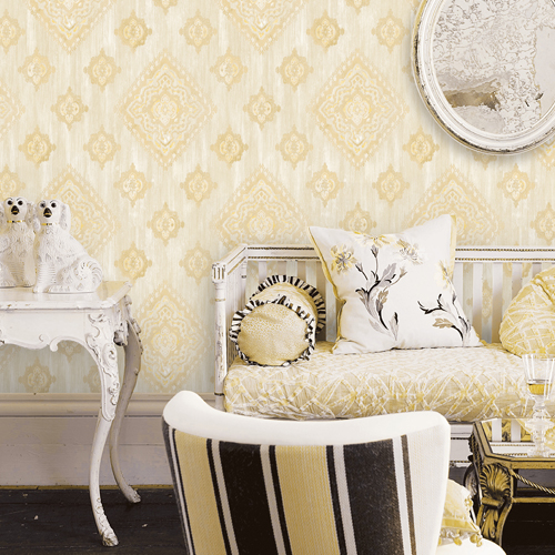 2810-SH01076 Brewster Wallcovering Advantage Tradition Leana Medallion Wallpaper Gold Room Setting