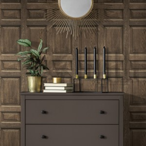 DI4747 York Wallcovering Dimensional Artisty Front Door Wallpaper Brown Room Setting