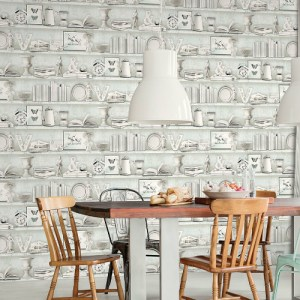 FH37506 Patton Wallcovering Norwall Farmhouse Living Curio Cabinet Wallpaper Turquoise Room Setting