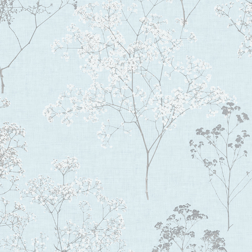 FH37510 Patton Wallcovering Norwall Farmhouse Living Queen Anne's Lace Wallpaper Sky Blue