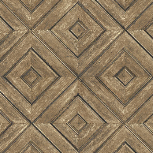 FH35712 Patton Wallcovering Norwall Farmhouse Living Wood Tile Wallpaper Brown