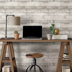 FH37558 Patton Wallcovering Norwall Farmhouse Living Beachwood Wallpaper Light Grey Room Setting