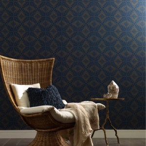 VA1204 York Wallcovering Aviva Stanoff Signature Collection Tribe Wallpaper Navy Room Setting