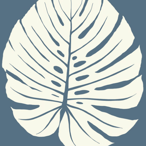 VA1237 York Wallcovering Aviva Stanoff Signature Collection Bali Leaf Wallpaper Navy