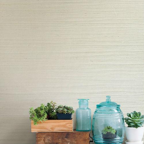 2732-65651 Brewster Wallcovering Kenneth James Canton Road Grasscloth Cebu Grasscloth Wallpaper Cream Room Setting