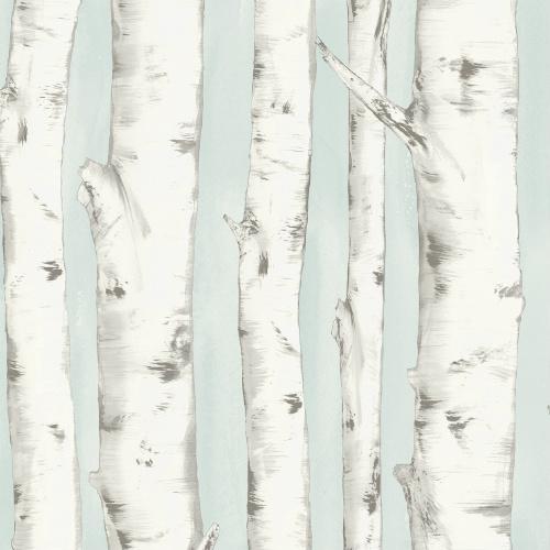 3118-12602 rewster Wallcovering Chesapeake Birch and Sparrow Pioneer Birch Wallpaper Light Blue