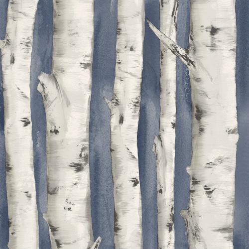 3118-12604 rewster Wallcovering Chesapeake Birch and Sparrow Pioneer Birch Wallpaper Denim