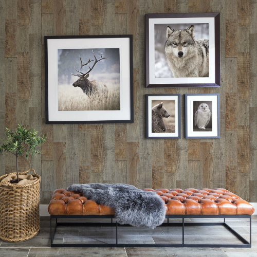 3118-12693 Brewster Wallcovering Chesapeake Birch and Sparrow Chebacco Wooden Planks Wallpaper Brown Room Setting