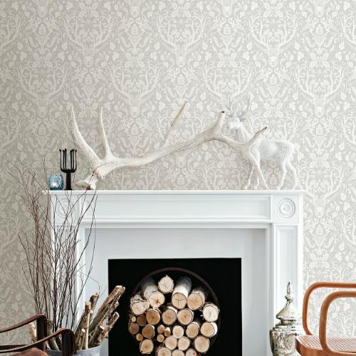 3118-12701 Brewster Wallcovering Chesapeake Birch and Sparrow Kiwassa Antler Damask Wallpaper Taupe Room Setting