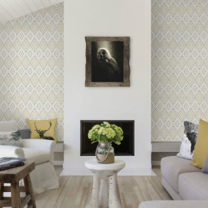 3118-12711 Brewster Wallcovering Chesapeake Birch and Sparrow Ganado Geometric Ikat Wallpaper Beige Room Setting