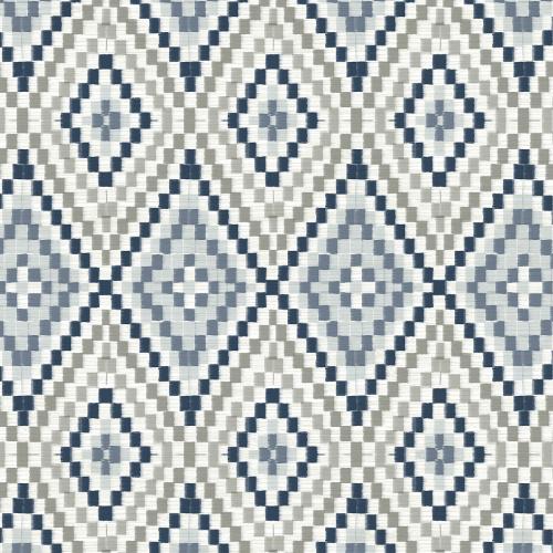 3118-12713 Brewster Wallcovering Chesapeake Birch and Sparrow Ganado Geometric Ikat Wallpaper Navy