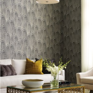 OL2768 York Wallcovering Candice Olson Journey Deco Fountain Wallpaper Black Room Setting