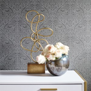 OL2775 York Wallcovering Candice Olson Journey Romance Damask Wallpaper Grey Room Setting
