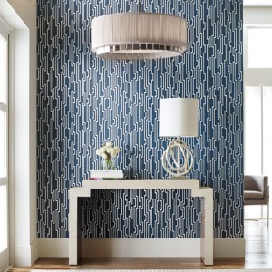 OL2789 York Wallcovering Candice Olson Journey Velocity Wallpaper Navy Room Setting