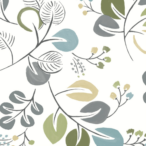 2821-25123 Brewster Wallcovering A Street Prints Folklore Jona Trail Wallpaper Green