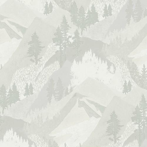 3118-12633 Brewster Wallcovering Chesapeake Birch and Sparrow Range Mountain Wallpaper Light Grey