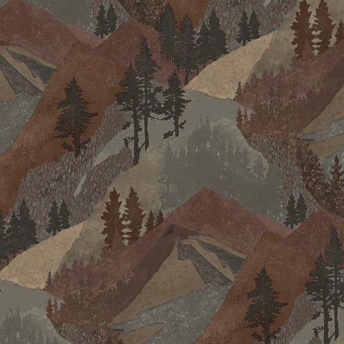 3118-12634 Brewster Wallcovering Chesapeake Birch and Sparrow Range Mountain Wallpaper Rust