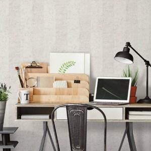 G67954 Norwall Patton Wallcovering Organic Texture Concrete Stripe Wallpaper Grey Room Setting