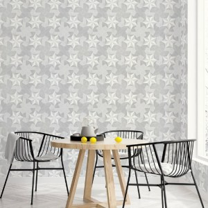 G67985 Norwall Patton Wallcovering Organic Textures Inlay Wood Wallpaper Grey Room Setting