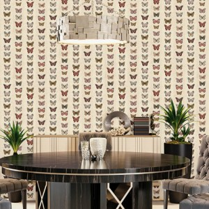 G67992 Norwall Patton Wallcovering Organic Textures Jewel Butterflies Stripe Wallpaper Rust Room Setting