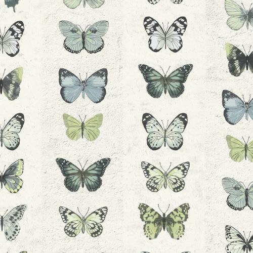 G67994 Norwall Patton Wallcovering Organic Textures Jewel Butterflies Stripe Wallpaper Blue