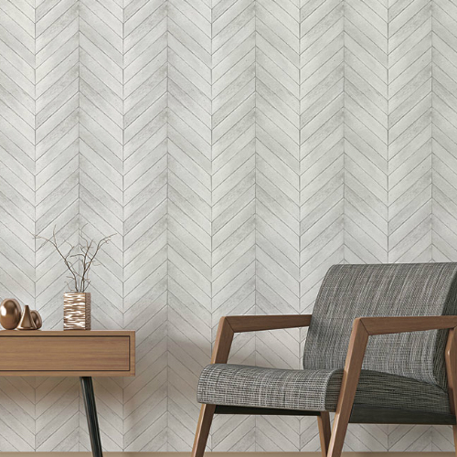 G68001 Norwall Patton Wallcovering Organic Texture Chevron Wood Wallpaper Light Grey Room Setting