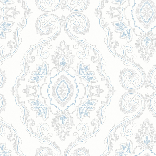 MB30302 Seabrook Wallcovering Beach House Nautical Damask Wallpaper Blue Oasis