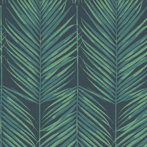 MB30004 Seabrook Wallcovering Beach House Paradise Palm Wallpaper Tropic Midnight