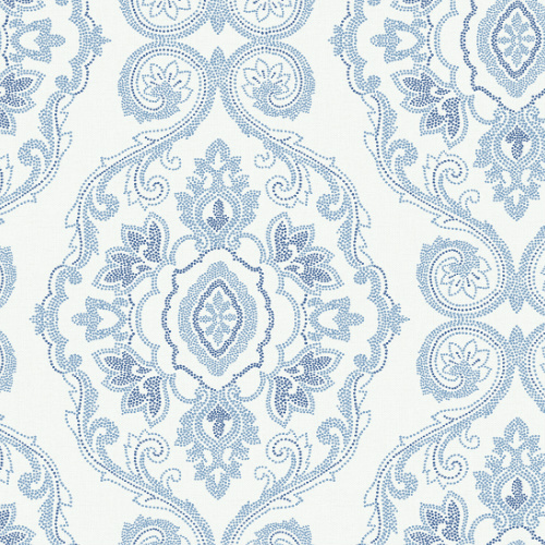 MB30312 Seabrook Wallcovering Beach House Nautical Damask Wallpaper Coastal Blue