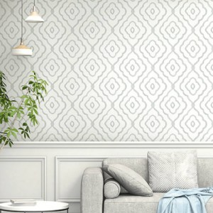 MB30905 Seabrook Wallcovering Beach House Seaside Ogee Wallpaper Daydream Grey Room Setting