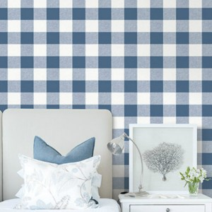 MB31902 Seabrook Wallcovering Beach House Beach House Picnic Plaid Wallpaper Coastal Blue Room Setting