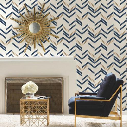 RMK9002WP Chevron Stripe Peel and Stick Wallpaper Blue Room Setting