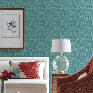 Y6230105 York Wallcovering Antonina Vella, Natural Opalescence Feathers Wallpaper Teal Green Room Setting